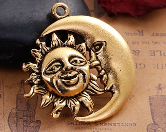 Sun and Moon Face Antique Gold Tone Hollow Pendant Charm 33mm C210A