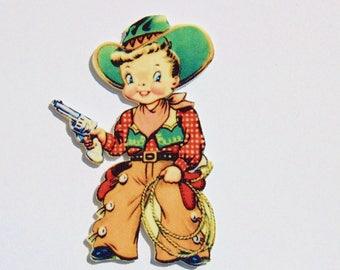 Little Cowboy - Shrink Plastic Brooch - Handmade