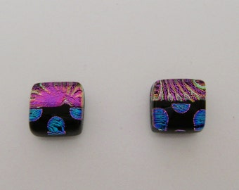Tiny dichroic glass stud earrings.