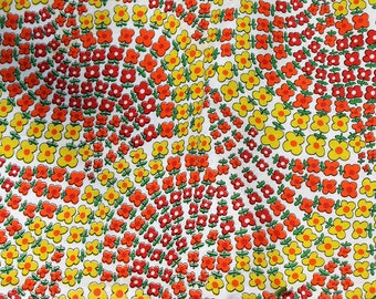 VINTAGE fabric  -  orange, yellow, red happy flowers - retro fabric - 60 x 36