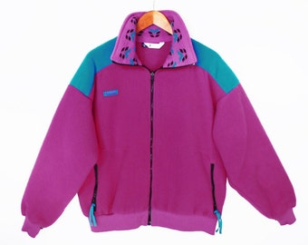 vintage COLUMBIA fleece jacket // color block 90's // pink and turquoise // women's XL // made in USA
