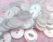 50 White Fish Eye/Cat Eye Vintage Buttons Plastic Buttons 7/8 Inch