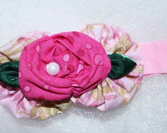 Newborn to 3 month,,fabric flower, stretch headband, baby, infant, photo prop,Pink