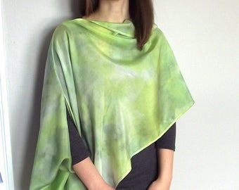 Hand Dyed Silk Asymmetric Wrap / Scarf - Lime, Light Green and Gray - Over 5 Ways to Wear it!