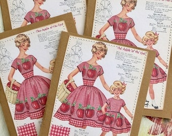 Vintage Dress Pattern Card Set Sewing Patterns Retro Fifties 50s Housewife Girl Seamstress Sew 4 Large Greeting Cards