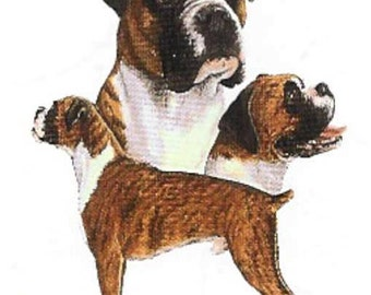 BOXER Uncropped Multi Dogs on TWELVE Identical 6 inch Fabric Squares for Quilting and Sewing
