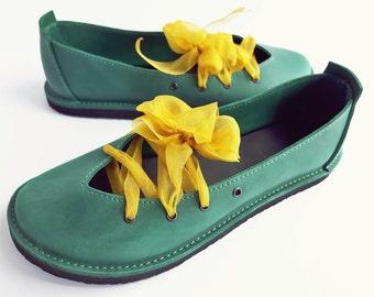 Ladies shoes, CLARA, Handmade Leather Vintage Inspired Shoes by Fairysteps in Mermaid