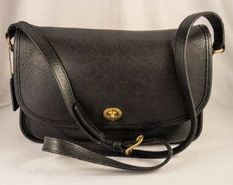 Coach City Bag Black Soft Glove Leather Satchel - Coach Handbag 9790 - Black Leather Brass Hardware Crossbody Messenger Bag