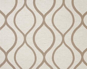 Tan/ Beige and Oatmeal Geometric Drapery Panels - Pair/ 2 Panels - Eroica Lancaster Jacquard Beige Fabric