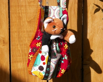 Calico Cat in Colorful Dots Stripes Flowers Or Peace Pug Stuffed Animal Carrier Includes Beany Toy Your Choice of One