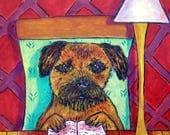 20% off SALE Border Terrier Reading a Book Dog Art TIle Coaster