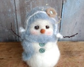 Large Alpaca Snowman Wonderfully Soft Christmas Winter Decoration Felted Cute
