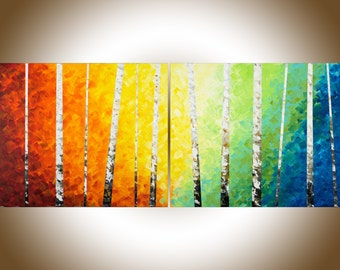 "60""extra large wall art birch wall art birch painting rainbow painting on canvas yellow orange blue green white black by qiqigallery"