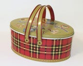 Vintage 1950s Oval Red Plaid Lunch Box with Handles and Tray Insert Ohio Art Co.