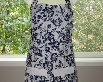 aprons for women - womens aprons - full aprons - blue floral