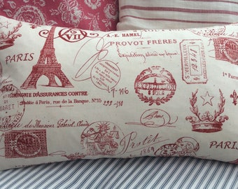FRencH CoTTage PiLLow Cover/PaRiS PriNT/SHaBBy Chic/ReD TiCKing/decorative Throw Pillow/Coastal/Bedroom