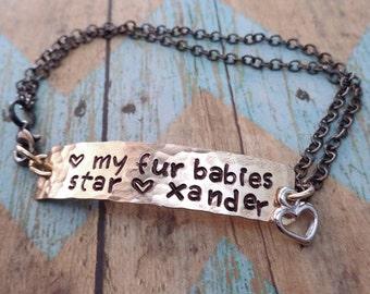 Fur Babies Bracelet - Pet Name Bar Bracelet  - Personalized Pet Name Bar Bracelet - Love my Fur Babies - P29