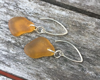 Simple Silver Amber Sea Glass Earrings