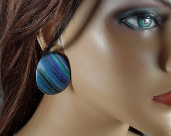 Polymer clay, post earrings, many shades of blue, green, black, purple