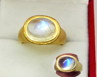 AAAA Rainbow Moonstone   10x8mm  3.72 Carats   in Ladies 18K Yellow gold cocktail ring 10 grams. 2638