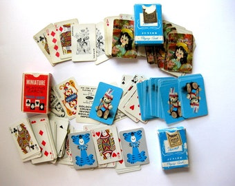 Vintage Miniature Playing Cards, Three Decks, Ephemera Cards