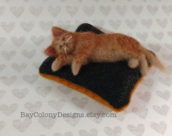 Pincushion with Needle Felted Yellow Tabby Kitty Cat Pincushion - READY TO SHIP (102016)