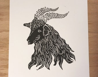 Original Black Goat Linocut Block Print - Limited Edition - Handmade