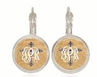 Monogram Cross Earrings, Antique Cross Earrings, Personalized Gift, Initial Jewelry, Glass Dome (Monogram Cross Earrings)