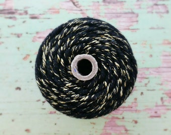 Super Chunky Black Gold Twine {30ply} Stripe   Sparkly Gold Twine   Gold Bakers Twine   Gold Cord   Christmas String   Holiday Gift Twine
