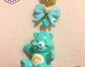 RESERVED Care Bears Wish Bear Mint Green Bow Beaded Necklace