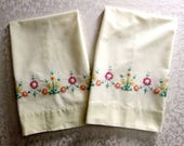 Vintage Pillowcases Pastel Yellow Hand Embroidery Embroidered Flowers Cotton Fabric Bedding Pillow Cases Vintage Bed Linens Cottage Decor