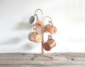 Set of Copper & Ceramic Mugs on Stand