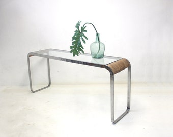 Vintage Mid Century Chrome & Rattan Glass Top Sofa Table Console Entryway Milo Baughman Style