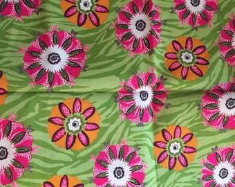 One Yard of Pink and Green Flower Fabric