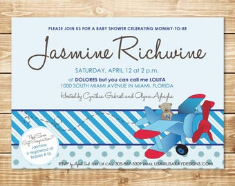 PRINTED Flying Bear 5x7 Blue Stripe and Polka Dot Baby Shower Invitation with envelope featuring shades of blue with brown accents