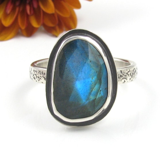 Faceted Labradorite Ring - Sterling Silver faceted Labradorite ring - silver Labradorite ring with skinny band - size 8.5 - size 8 1/2 ring