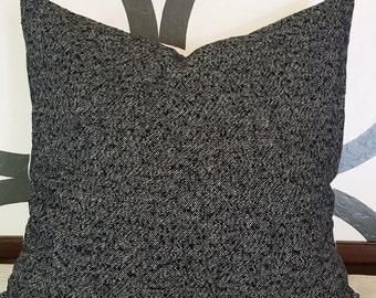 Black & White textured wool pillow/modern/industrial/mid century