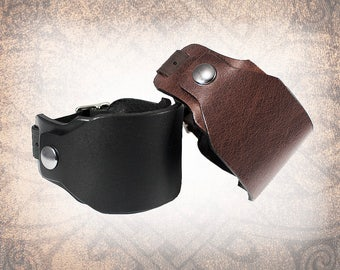 Wide Covered Leather Watch Cuff, Leather Watch Strap, Leather Watch Band, Black Watch Cuff, Men's Watch Cuff - Custom to You (1 cuff only)