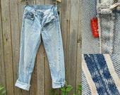 "Vintage Levi's 501 Jeans / Beautiful Vtg 70s 80s  Distressed Trashed 70s 80s Selvage Black Bar Indigo Denim Jeans w/ Raw Hems /  26.5"" waist"
