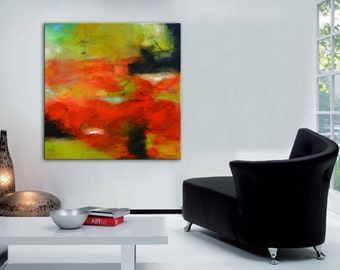 Abstract painting, red painting, green painting, orange green art, red abstract, modern painting, large abstract painting, square painting