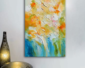 Abstract blue painting, orange blue painting, abstract small painting, floral abstract blue art original flowers abstract, orange flowers
