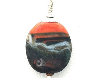 On Sale Orange Abstract Matte Lamp Work Glass Pendant by Kate Drew-Wilkinson