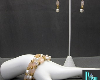 Chalcedony and Pearl Bracelet Set