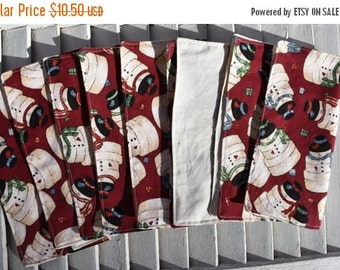 "SALE 10% OFF Set of 8 2 ply Cotton Napkins 8"" Everyday Stacking Snowmen"