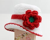 Crocheted Flower Sun Hat. Toddler. Children. Sunhat. Cloche. White. Red. Glitter. Sparkle.