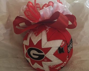 University of Georgia Bulldogs Inspired Quilted Ball Christmas Ornament Graduation Gift Birthday Gift
