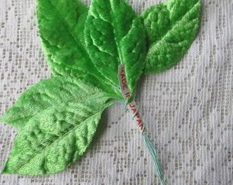 6 Vintage Millinery Velvet Leaves 6 Japan Spring Green Velvet Leaves  VL C35