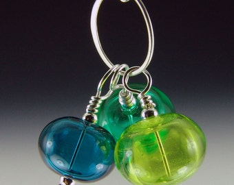 Trio of Hollow Beads, Greens bubble necklace, silver plated