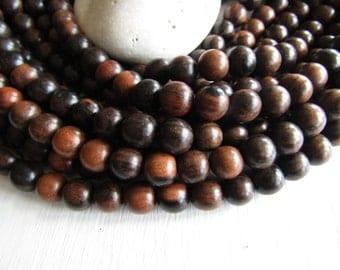 Tiger ebony wood round wood beads , Kamagong Camagong , Dark brown to beige, Philippines, boho Natural exotic 10mm ( 16 inch strd ) 6PH22
