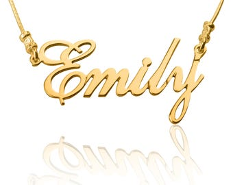 24K Gold Plated 24K GP Any Personalised Name Necklace, GP Chain, Customize nameplate necklace, Great Gift Idea